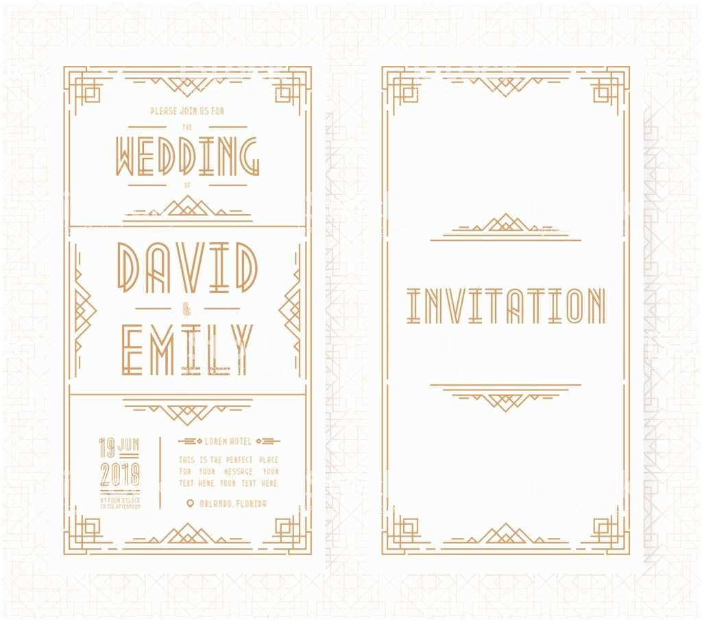 Art Deco Wedding Invitations Free Download Wedding Invitation Card Set Art Deco Style Gold Color
