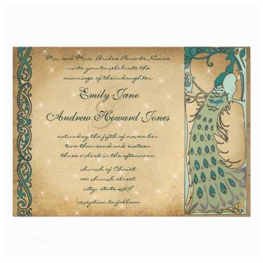 Art Nouveau Wedding Invitations Art Nouveau Vintage Peacock Wedding Invitation