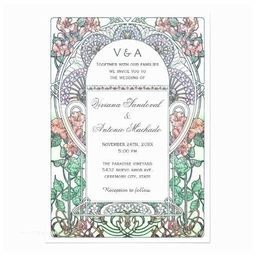 Art Nouveau Wedding Invitations Beautiful Art Nouveau Wedding Invitations