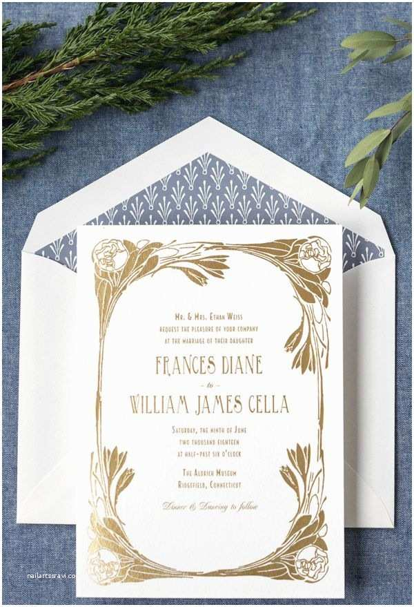 Art Nouveau Wedding Invitations Blue and Gold Foil Art Nouveau Wedding Invitation by Hello