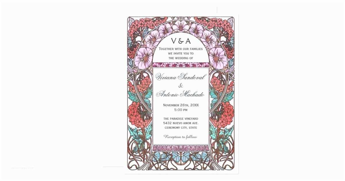 Art Nouveau Wedding Invitations Colorful Art Nouveau Vintage Wedding Invitations