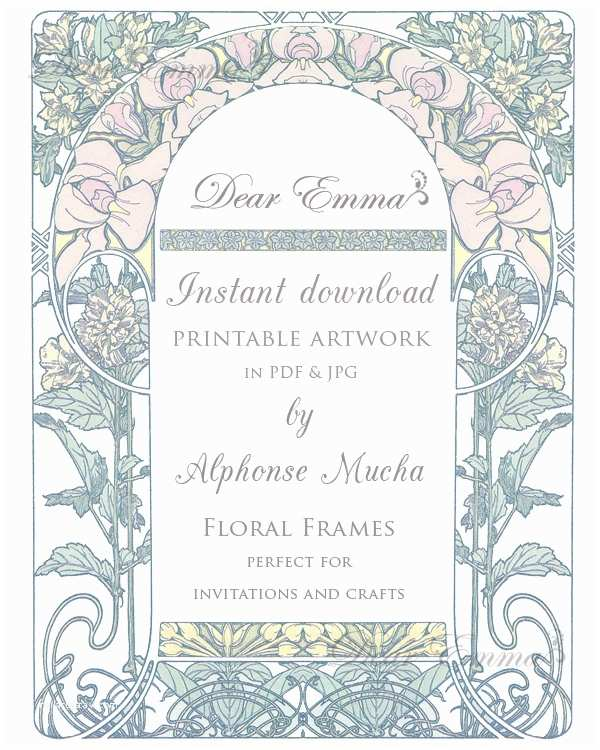 Art Nouveau Wedding Invitations Instant Download Art Nouveau Artwork for Wedding Invitations