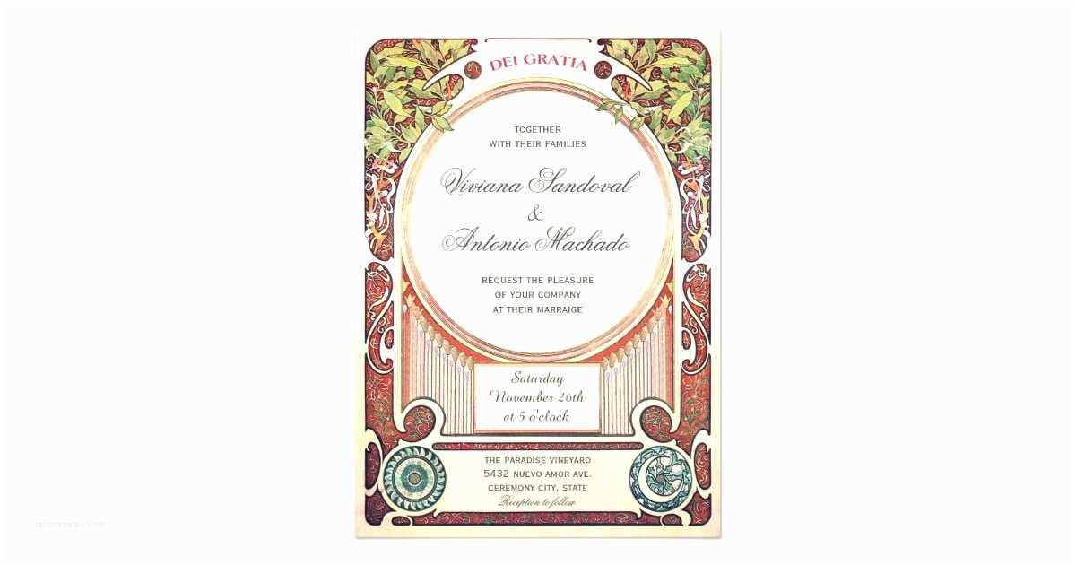 Art Nouveau Wedding Invitations Vintage Art Nouveau Wedding Invitations I
