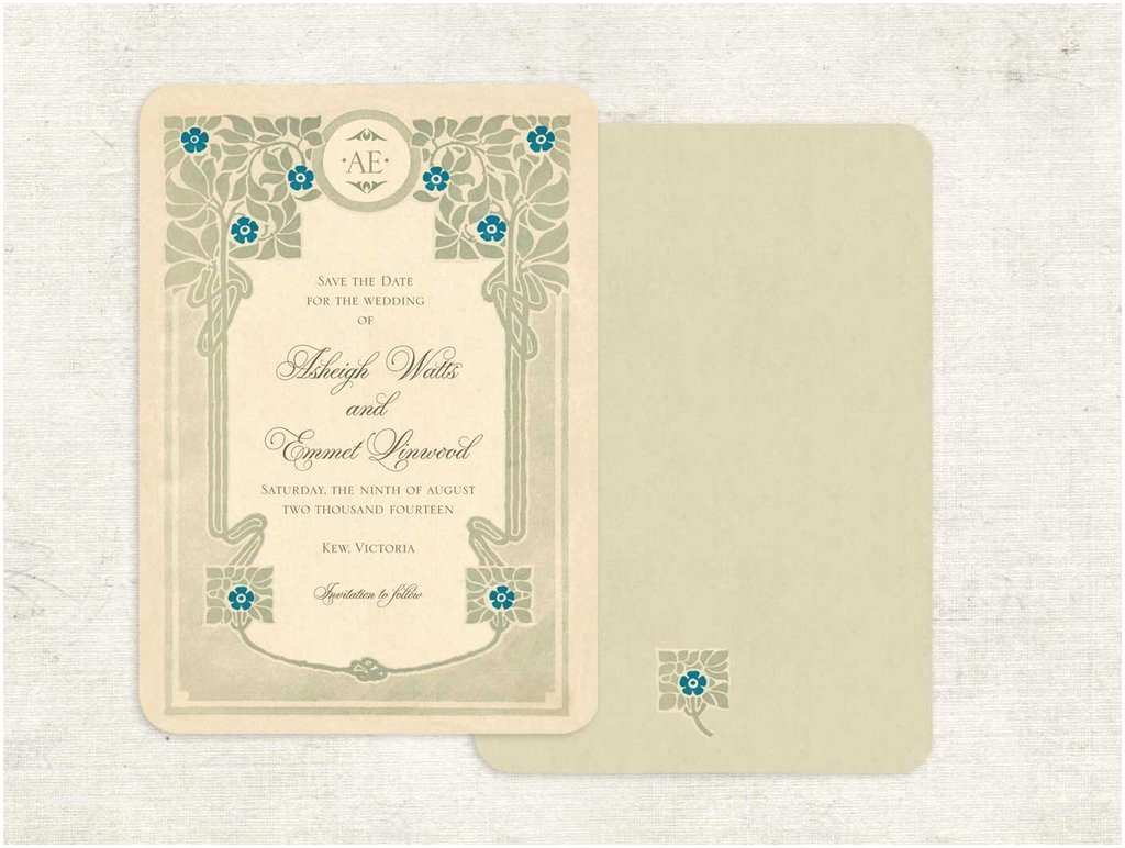 Art Nouveau Wedding Invitations Vintage Inspired Wedding Invitations Art Nouveau