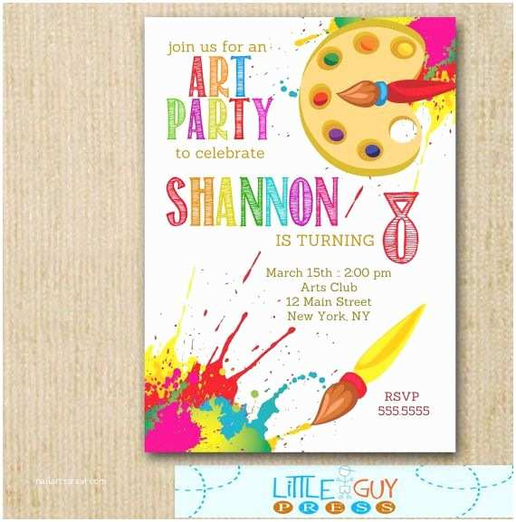 Art Party Invitations Art Birthday Party Invitations Art Party Invitations