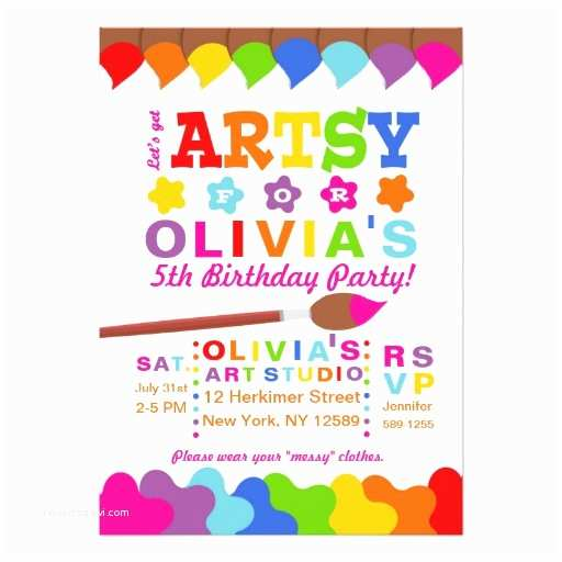 Art Party Invitations Art Party Invitation Paint Party Invitation