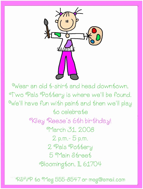 Art Party Invitations Art Birthday Party Invitations For Your Kids
