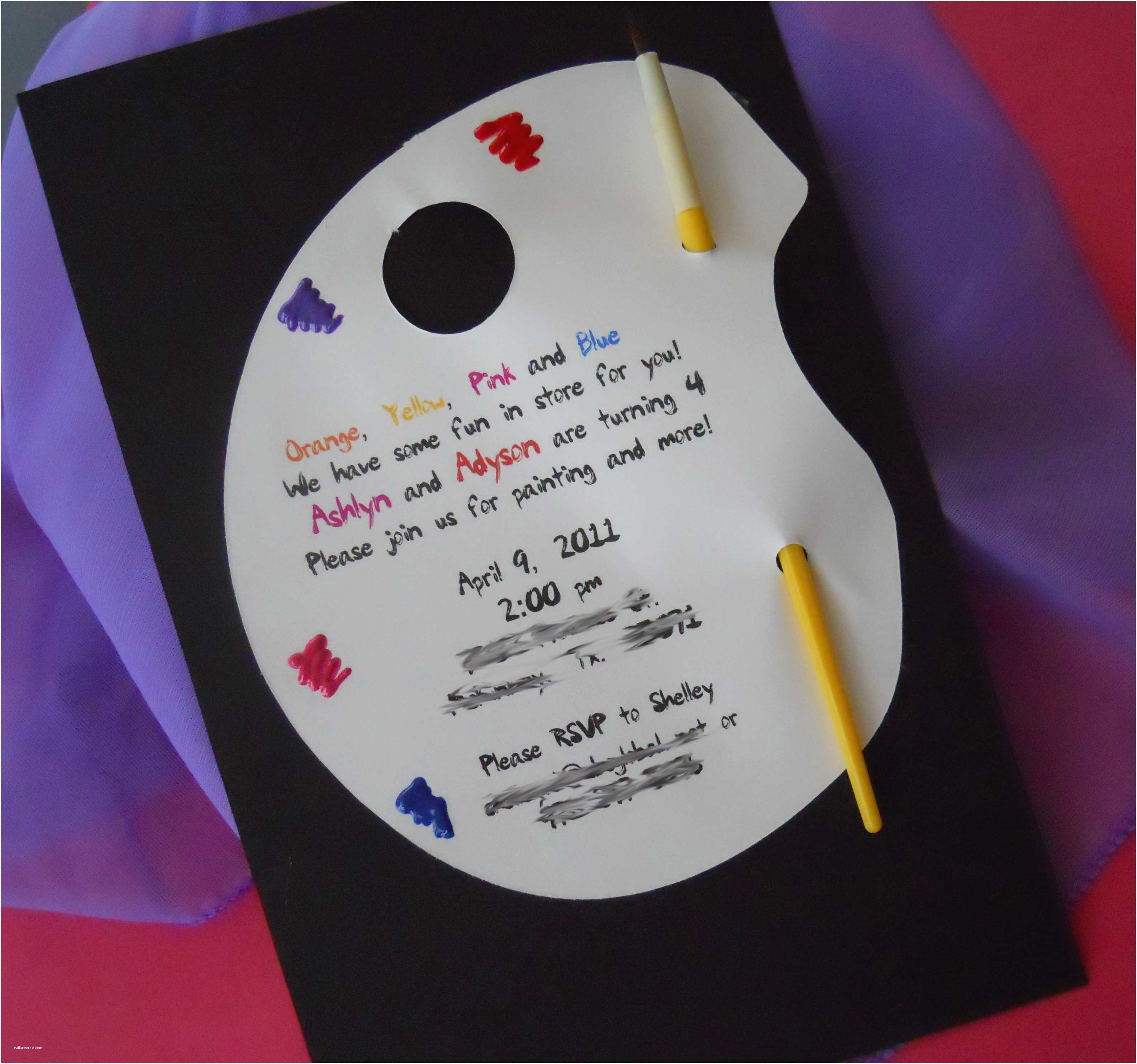 Art Party Invitations Painting Birthday Party