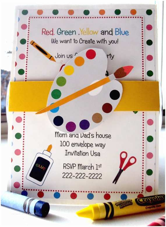 Art Party Invitations Throw A Lovely Art Party B Lovely events