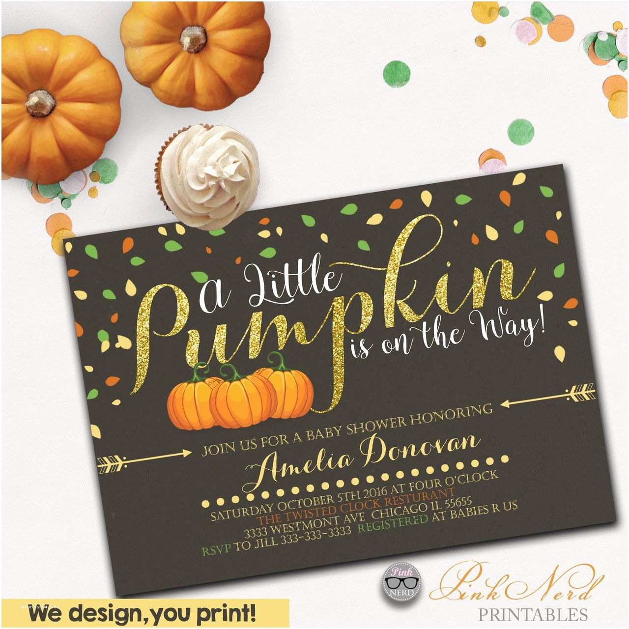 Autumn Baby Shower Invitations A Little Pumpkin Baby Shower Invitation Fall theme