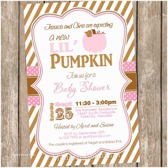 Autumn Baby Shower Invitations Fall Little Pumpkin Girl Baby Shower Invitation Brown