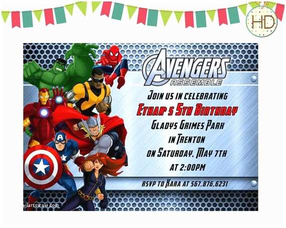 Avengers Birthday Invitations Invitation Assemble By