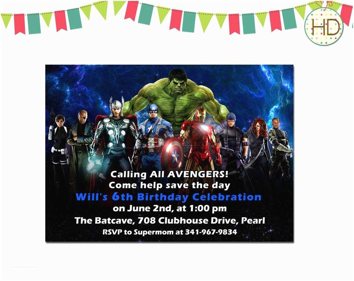 Avengers Birthday Invitations Avengers Birthday Invitation