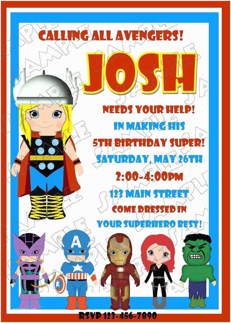 Avengers Birthday Invitations Thor Inspired Party Printable