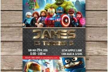Avengers Birthday Invitations Lego