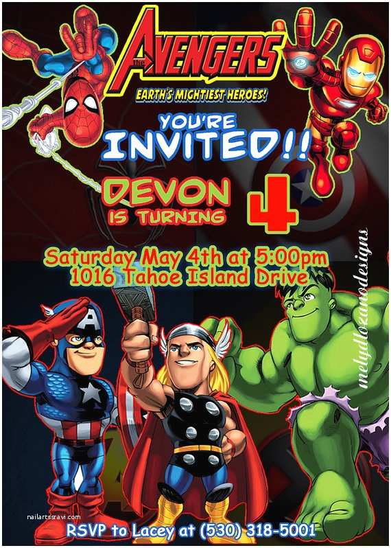 Avengers Birthday Invitations Marvel Avengers Birthday Invitation