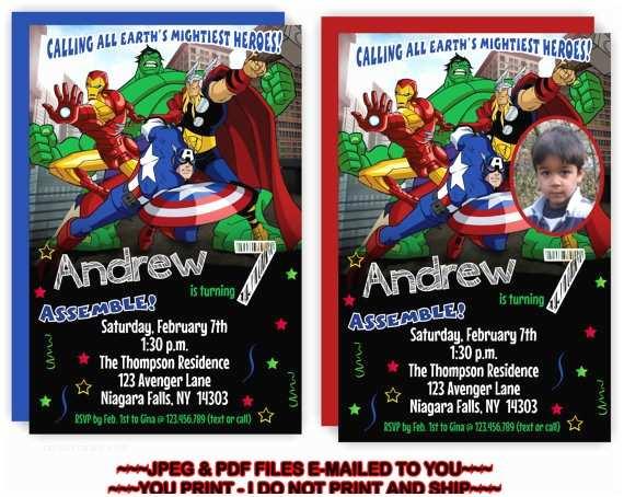 Avengers Birthday Invitations You Print Avengers Birthday Invitation the by Tagsruscanada