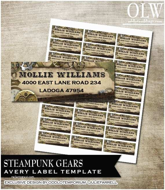 Avery Labels for Wedding Invitations Steampunk Gears and Faux Leather On Faux Parchment Paper