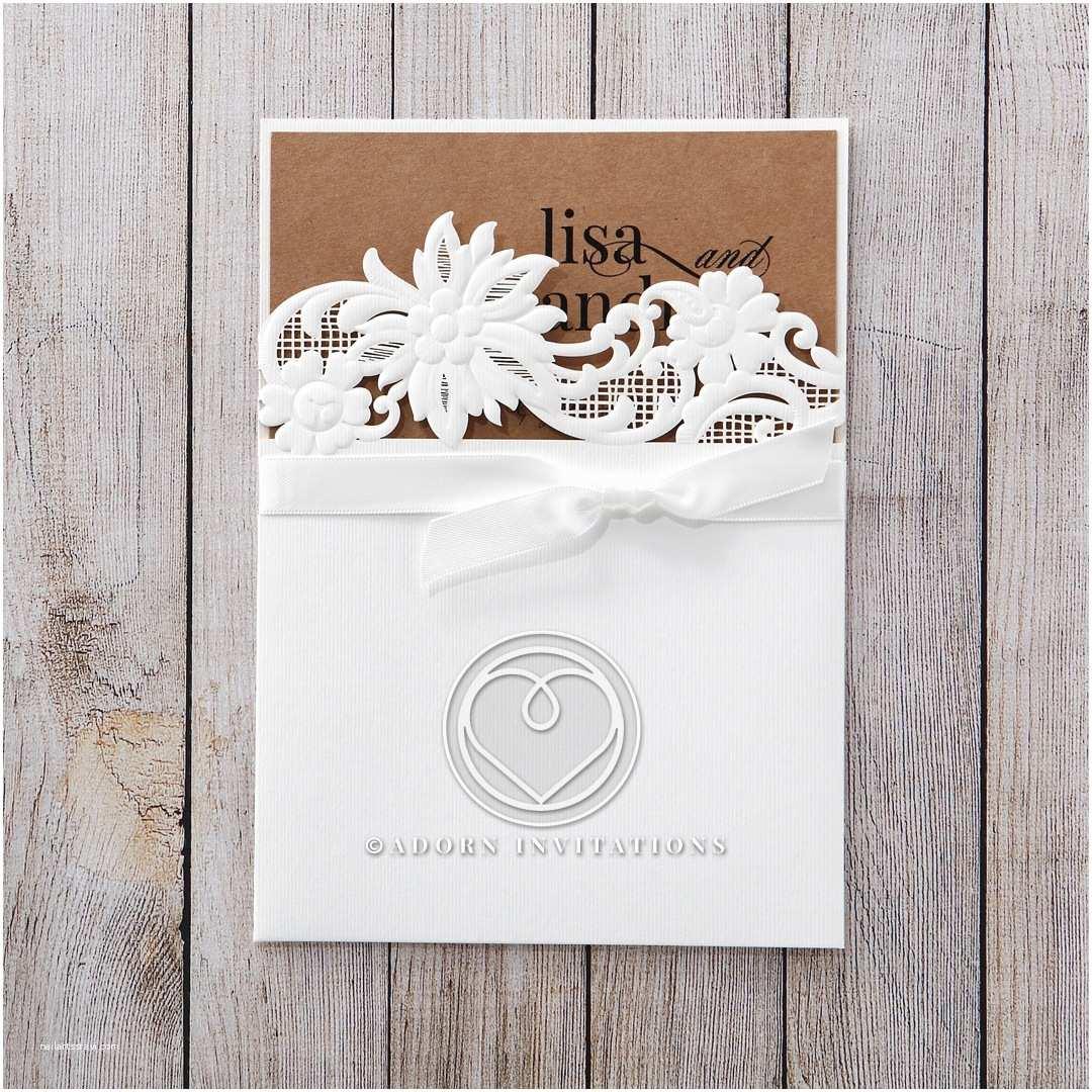 B Wedding Invitations Embossed Laser Cut Floral Themed Pocket Invitation