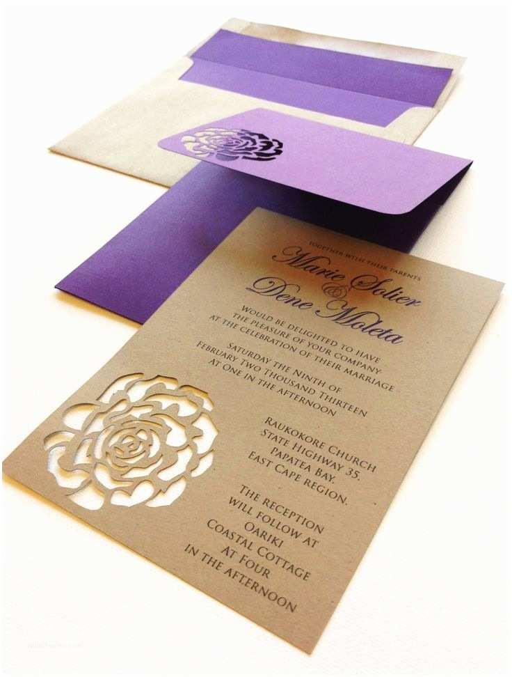 B Wedding Invitations Purple And Kraft Rose Themed Wedding Invites Wedding