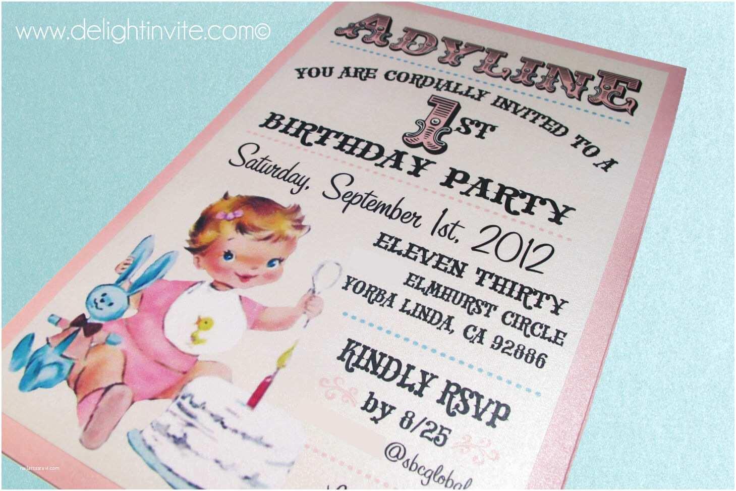 vintage babys 1st birthday invitation