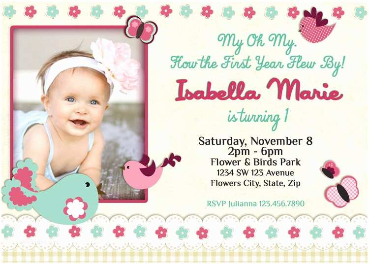 Baby Birthday Invitations Birds Invitation