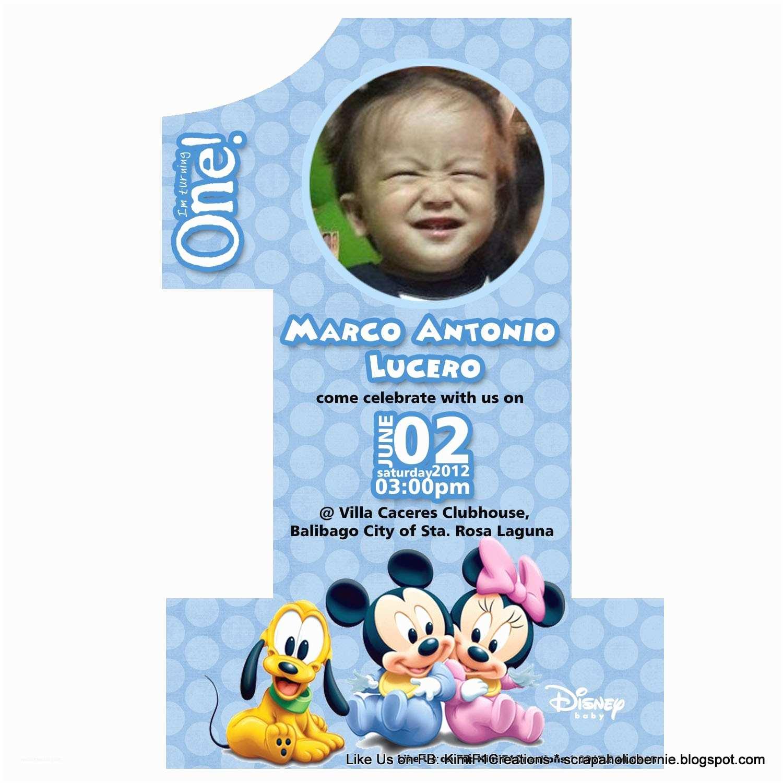 Baby Birthday Invitations F1 Digital Scrapaholic Baby Mickey No 1 Birthday Invites