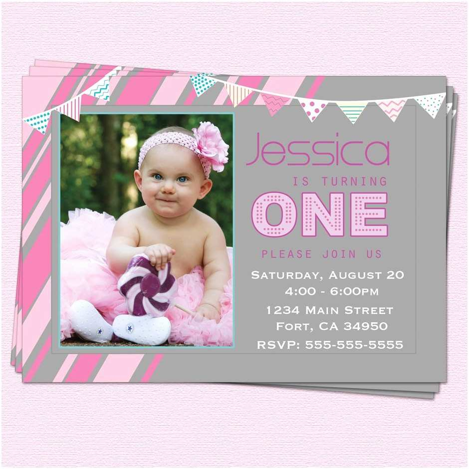 Baby Birthday Invitations First Birthday Invitation Messages for Baby Girl