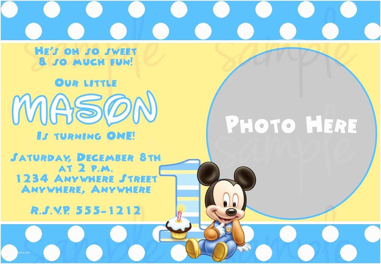 Baby Birthday Invitations Free Printable Baby Mickey Mouse 1st Birthday Invitations
