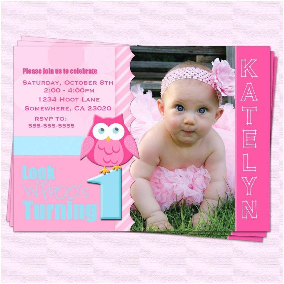 Baby Birthday Invitations Owl 1st Ideas Bagvania Free