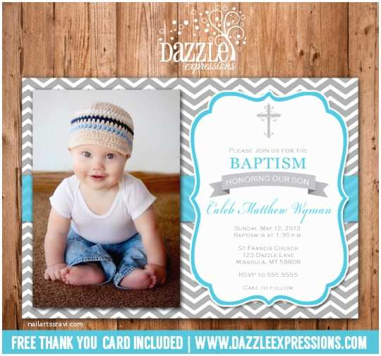Baby Boy Baptism Invitations Printable Modern Blue and Gray Chevron Baptism or