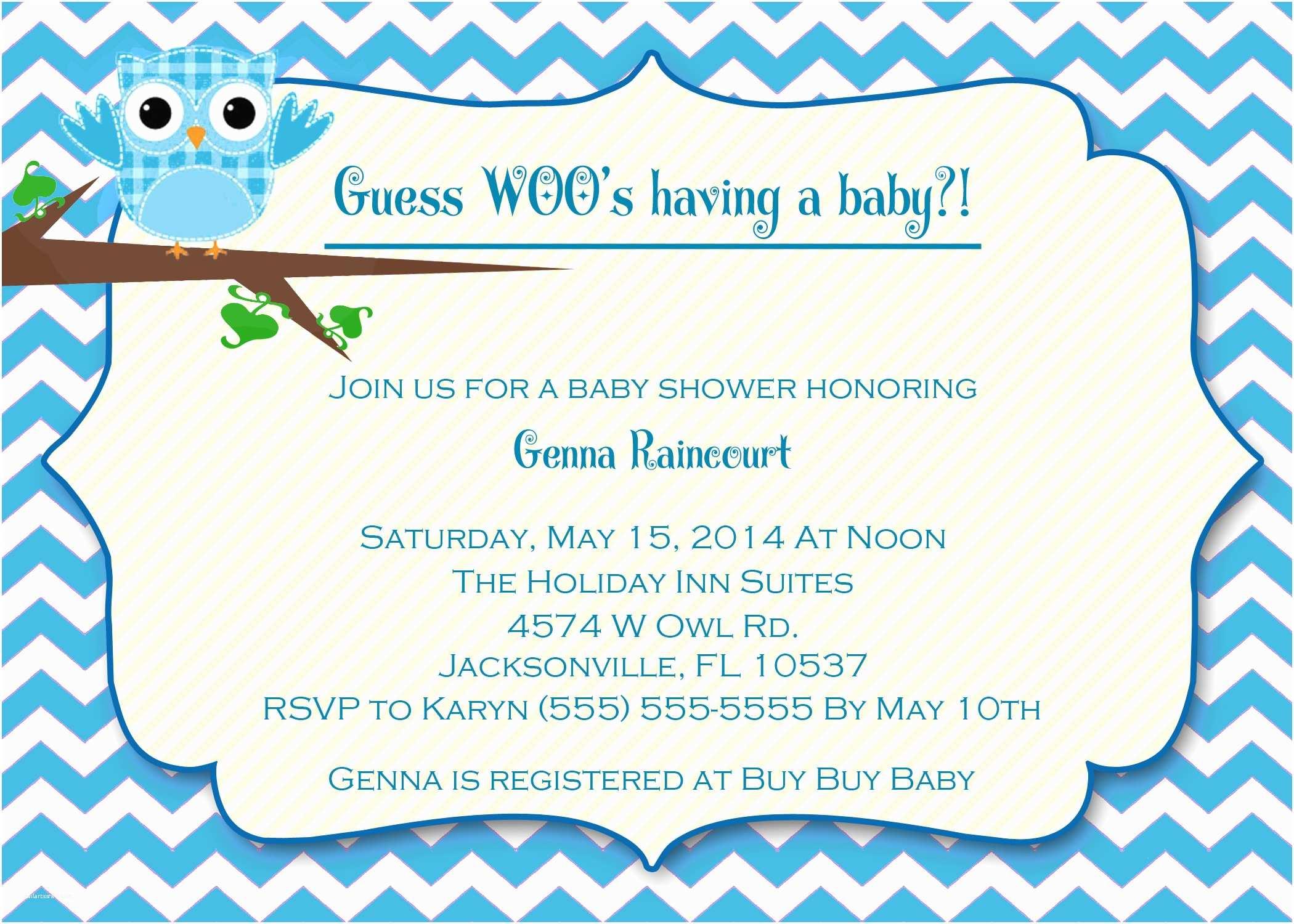 Baby Boy Shower Invitation Wording Owl Baby Shower