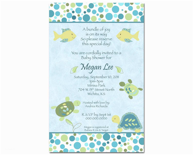 Baby Boy Shower Invitation Wording Turtle Baby Shower Invitations Template