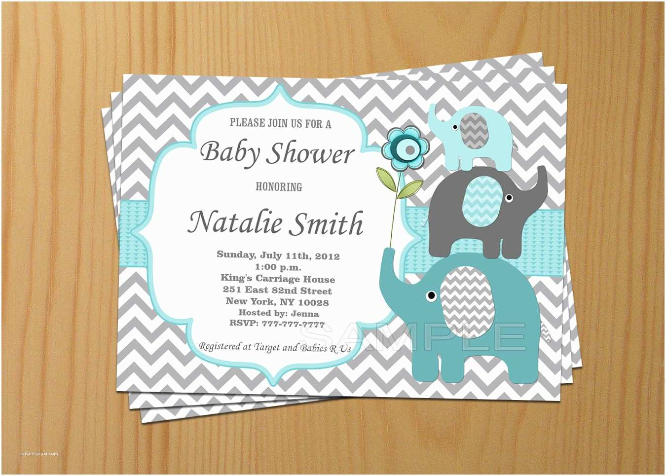 Baby Boy Shower Invitations Baby Shower Invitation Boy Elephant Baby Shower Invitation