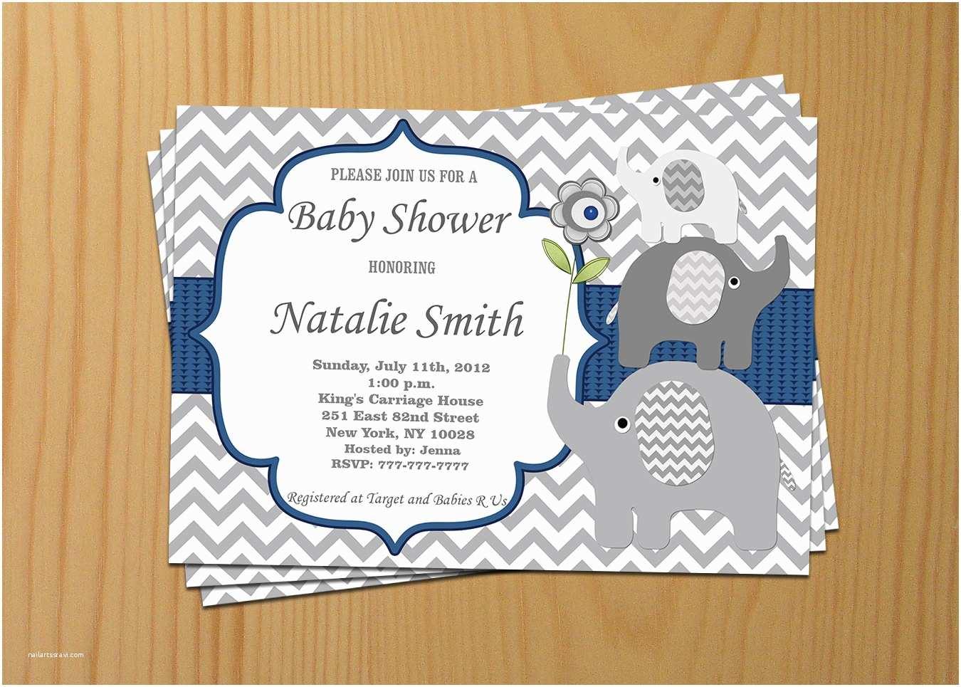 Baby Boy Shower Invitations Elephant Baby Shower Invitation Boy Baby Shower Invitation