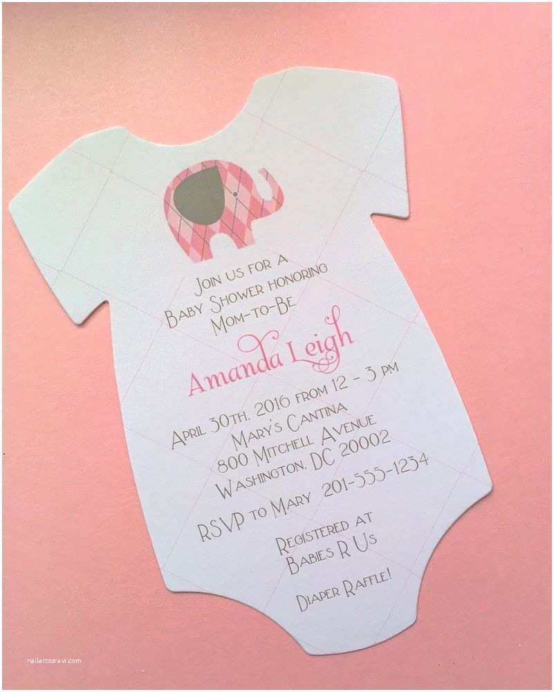 Baby Elephant Baby Shower Invitations Baby Girl Elephant Baby Shower Invitation All Wording