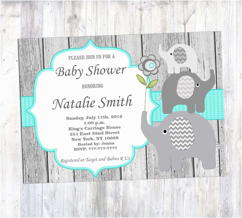 baby shower invitations elephants boy