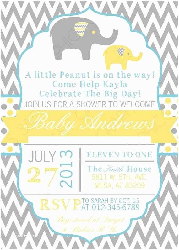 Baby Elephant Baby Shower Invitations Boy Baby Shower Invitation Baby Boy Invitation