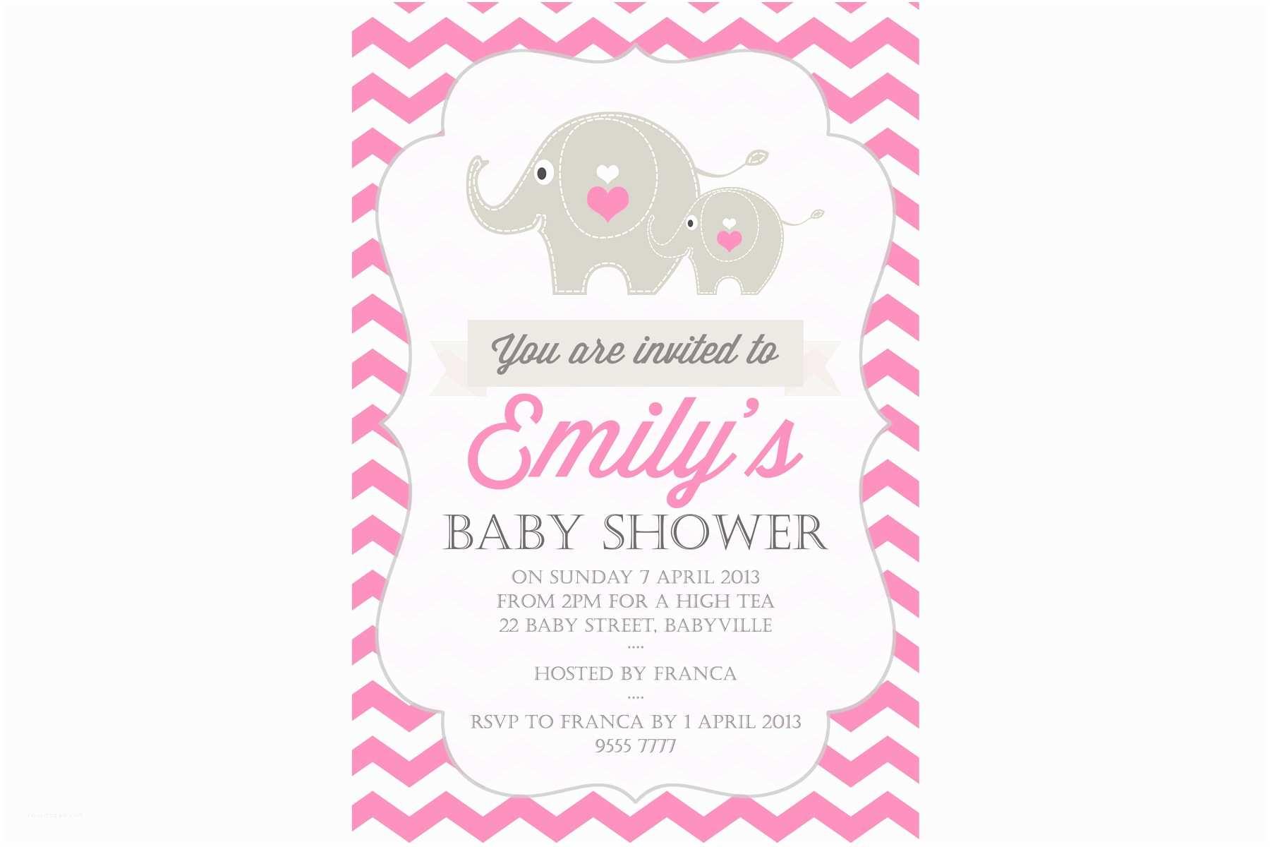 Baby Elephant Baby Shower Invitations Cute Elephant Baby Shower Invitation – Li