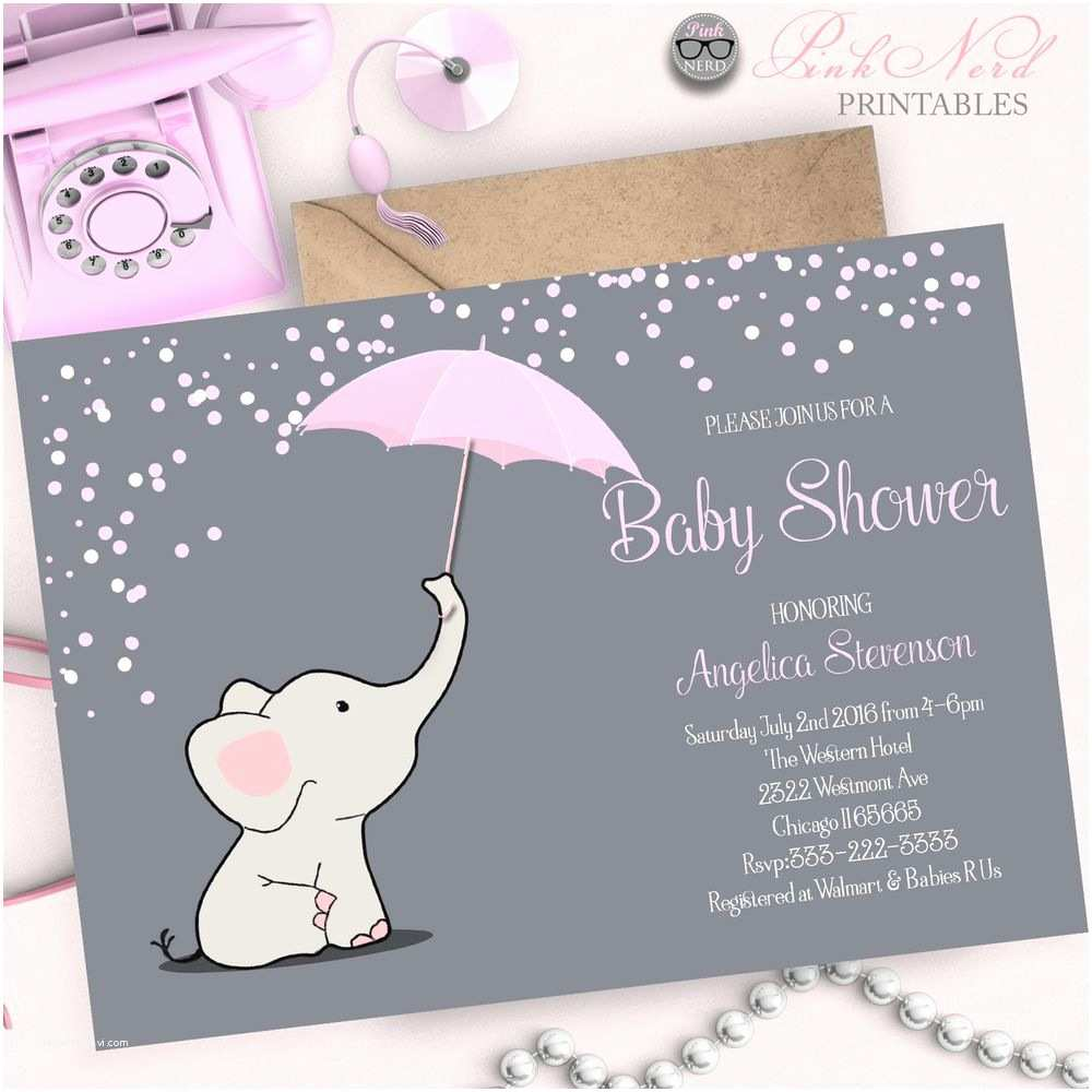 Baby Elephant Baby Shower Invitations Elephant Baby Shower Invitation Elephant Holding Umbrella