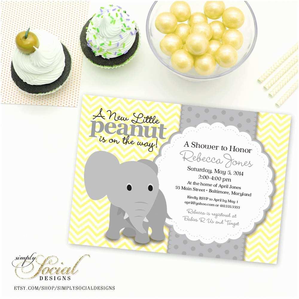 Baby Elephant Baby Shower Invitations Elephant Baby Shower Invitation Yellow Chevron And