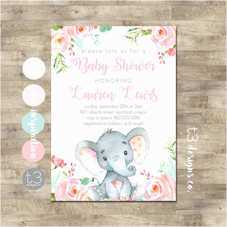 Baby Elephant Baby  Invitations Girl Elephant Baby  Invitation Safari Baby