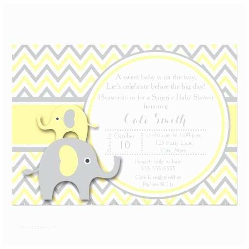 Baby Elephant Baby Shower Invitations Yellow and Gray Elephant Baby Shower Invitation