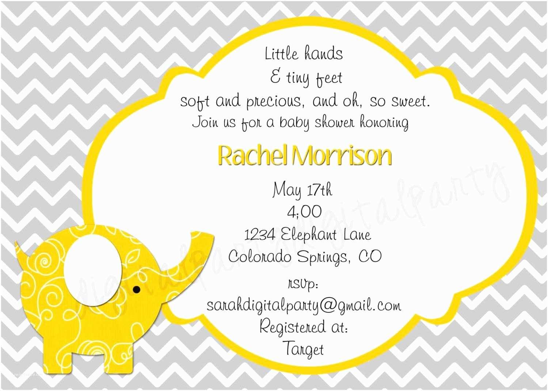 Baby Elephant Baby Shower Invitations Yellow and Grey Elephant Baby Shower Invitation 4x6 or 5x7