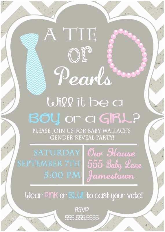 Baby Gender Reveal Invitations Gender Reveal Invitation Ties and Pearls Vintage Chevron