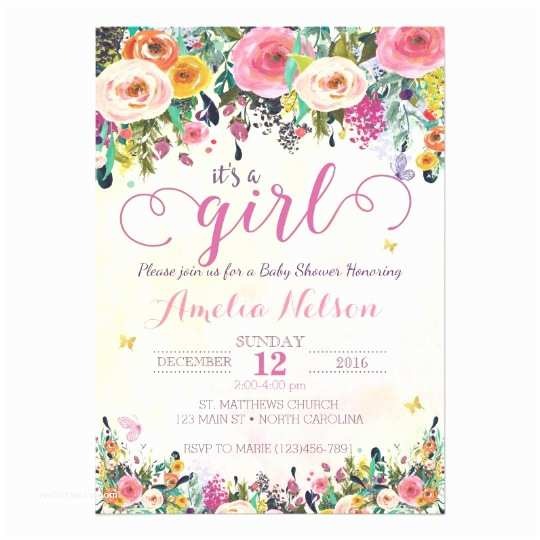 Baby Girl Baby Shower Invitations It S A Girl Floral Garden Baby Shower Invitation