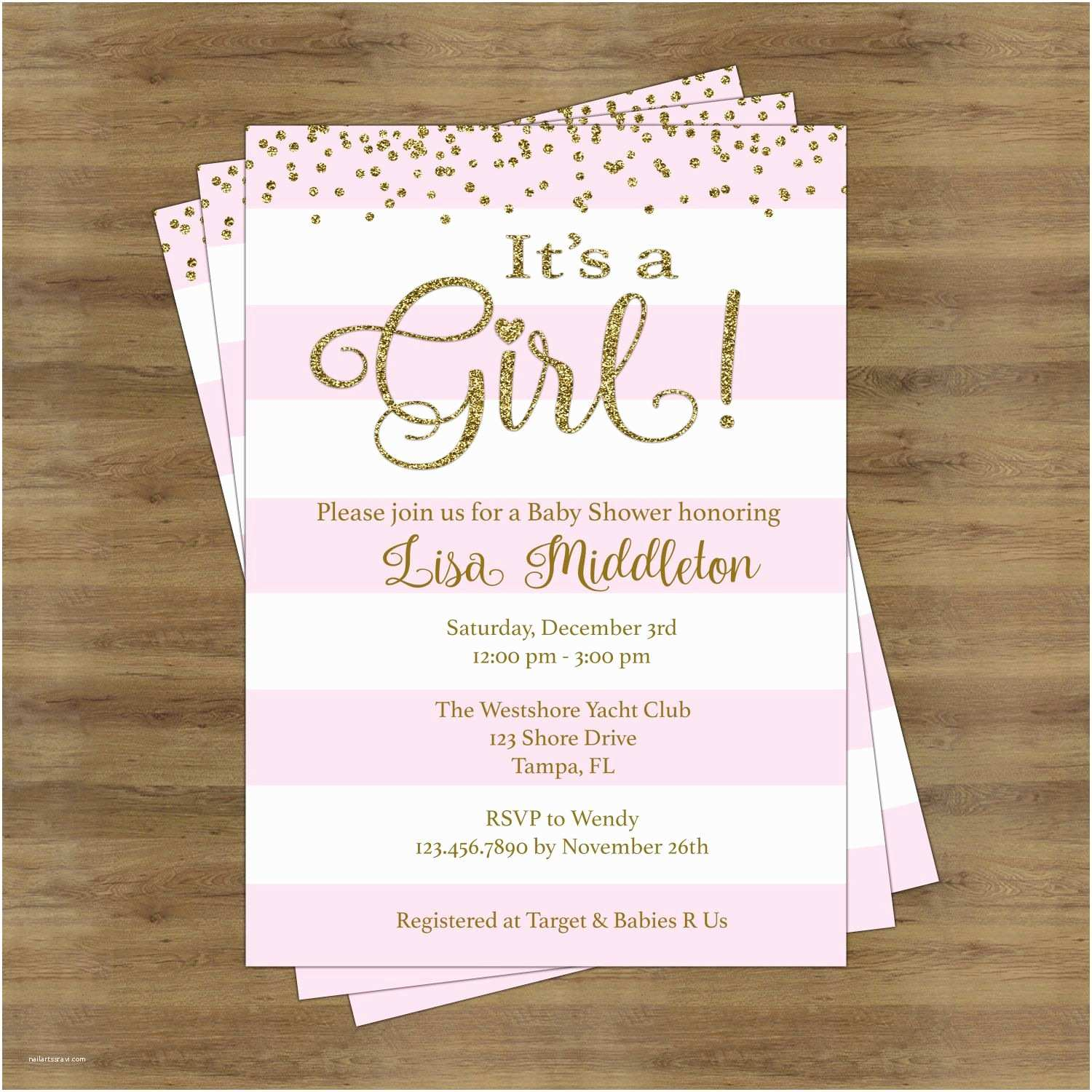 Baby Girl Shower Invitation Pink and Gold Baby Shower Invites Its A Girl Baby Shower
