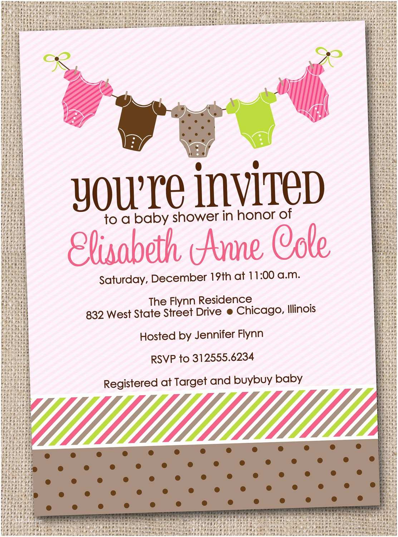 Baby Girl Shower Invitation Printable Baby Shower Invitations Girl Baby Tees Bunting
