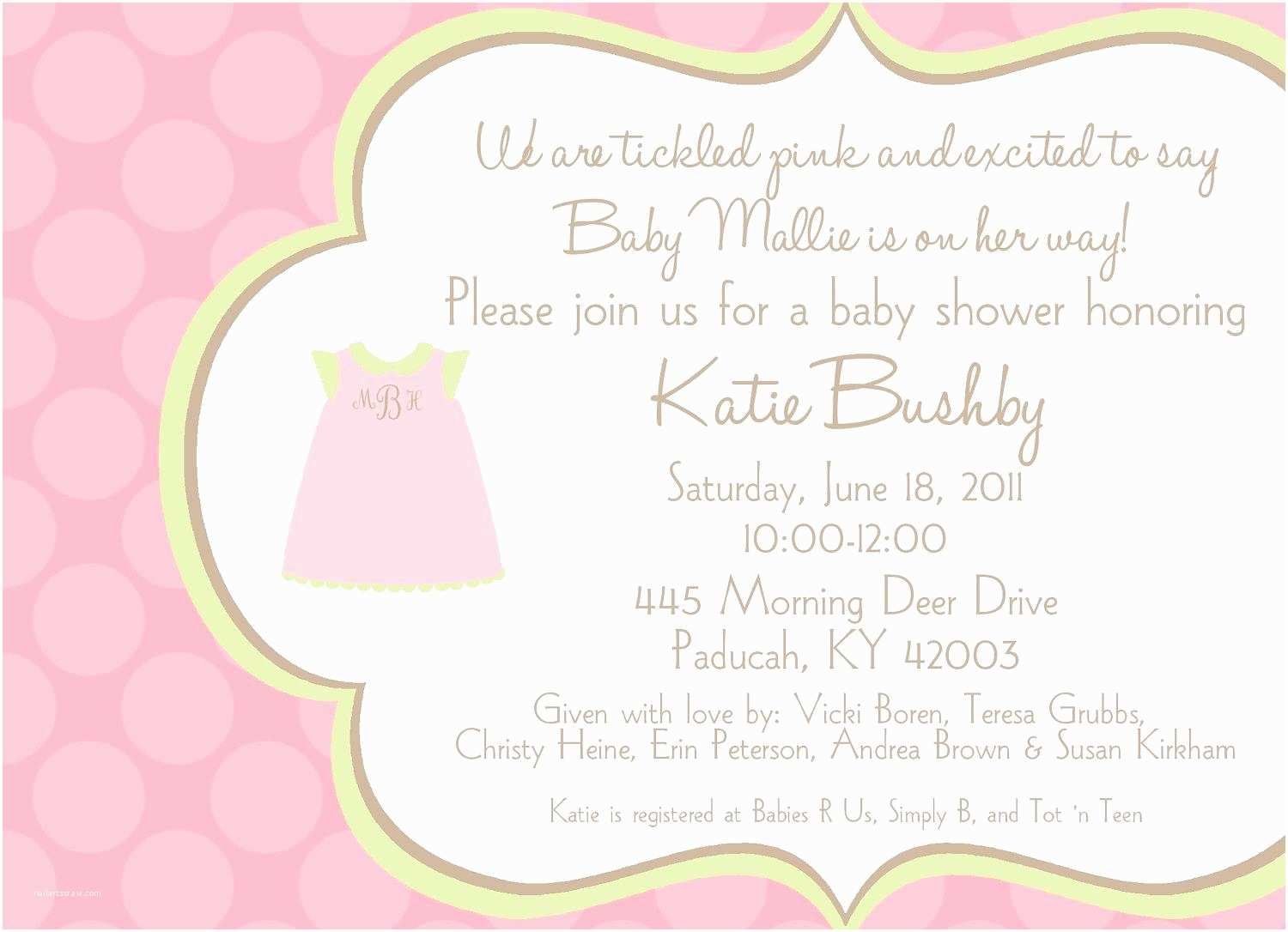 Baby Girl Shower Invitations Baby Shower Invitation Wording for A Girl