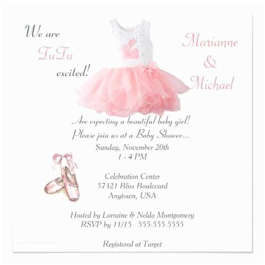 Baby Girl Shower Invitations Ballet Tutu Excited Baby Girl Shower Invitation
